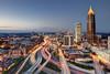 Atlanta (mudpig) Tags: city atlanta sunset skyline skyscraper ga georgia highway cityscape traffic dusk nopeople commute bluehour georgiatech hdr lighttrail mudpig stevenkelley