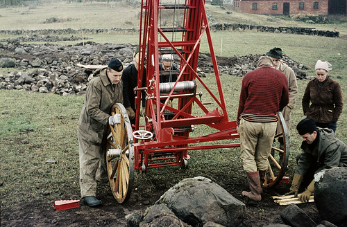 Arranging a fire ladder for photographing, Häggum, Västergötland, Sweden