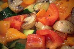 mushrooms peppers zucchini (Justin van Damme) Tags: food orange brown macro green vegetables yellow mushrooms peppers veggies colourful zucchini cooked fried