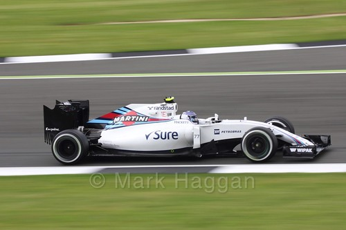 Valtteri Bottas in his Williams during Free Practice 1 at the 2016 British Grand Prix