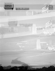 The dragon ascends from the Odakyu car park (daveknapik) Tags: blackandwhite 120 film japan mediumformat multipleexposure multipleexposures yashicamat124g