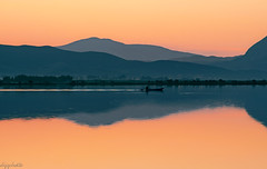 An Early Morning Scene... (dipphotos) Tags: sunrise lagoon messolonghi greece water lake sea light reflections