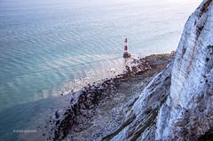Beachy Head Lighthouse (pietkagab) Tags: beachyhhead cliffs white chalk lighthouse evening blue cold water sea pietkagab photography piotrgaborek pentax pentaxk5ii england britain eastsussex travel trip adventure