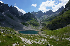 Blue mountain lake (Goran Joka) Tags: blue sky mountain lake green nature landscape outdoor hiking valley mountaineering peaks albania mountainlake montenegro prokletije valleyofthelakes prokletijemountains mtprokletije