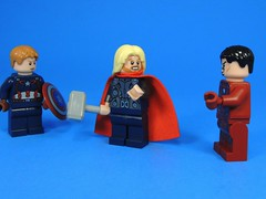 Serioulsy Guys? (MrKjito) Tags: lego minifig superhero marvel cinematic universe avengers iron man thor captain america civil war conflict fighting left eaarth asgard