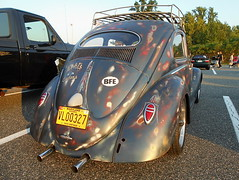 1957 Volkswagen Beetle (splattergraphics) Tags: 1957 volkswagen beetle vw customcar patina volksrod cruisenight lowescruise abingdonmd