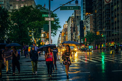 Summer rain in NY (Arutemu) Tags: rain night nighttime nikon nyc ny newyork nightshot newyorkcity nuevayork urban usa us unitedstates manhattan chelsea evening scene street city cityscape ciudad citylights sony a7r sonya7r ilcea7r ilce ville