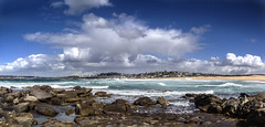 Sea sky and rocks (LSydney) Tags: beach waves rocks sky clouds curlcurl panorama