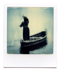 (~ Nando ~) Tags: polaroid sx70 theimpossibleproject instantfilm printscan epsonv700 vuescan analog analogue slr singlelensreflex square squareformat boat river oldwoman