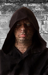 Death (rockindave1) Tags: face text death adobeelements13 hoodie canoneos5dmark2 eyes nose mouth lips fonts