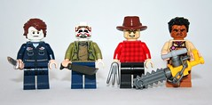Lego Psycho Slashers Part 6 (XxDeadmanzZ) Tags: lego psycho slashers part 6 a horror movie is no good without its remake from lr michael myers jason voorhees freddy krueger leatherface chainsaw machete knife texas massacre friday 13th nightmare elm street halloween