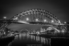 Newcastle and Gateshead Quayside (NickeiG) Tags: newcastle gateshead tyne wear river tbridge millenium stream current movement quayside light dark black white lit up long exposure north east england united kingdom europe bridges sage music northumberland