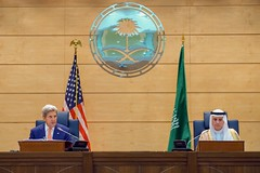 Secretary Kerry Addresses Reporters During a Joint News Conference With Saudi Arabia Foreign Minister Adel al-Jubeir in Jeddah (U.S. Department of State) Tags: johnkerry jeddah saudiarabia adelaljubeir