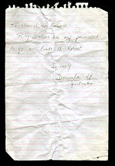 Found: Always ask gramma FIRST (haunted snowfort) Tags: donnalee riley school found find discovery discarded foundnote permission grade12retreat blessedtrinitycatholicsecondaryschool grimsby ontario canada towhomitmayconcern grandmother