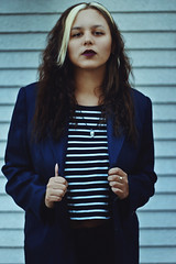 Striped (TheJennire) Tags: photography fotografia foto photo canon camera camara colours colores cores light luz young tumblr indie teen hair cabello pelo cabelo curlyhair people portrait self girl makeup fashion style blue
