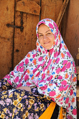 Local woman wears traditional covers in the village of Abyaneh / Iran (ANJCI ALL OVER) Tags: iran middleeast persia ایران abyaneh islamicrepublicofiran جمهوریاسلامیایران