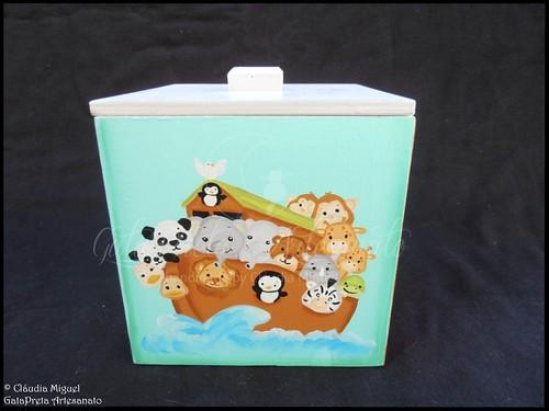 """Fraldário, cesta, caixinha cúbica e régua de crescimento """"A Arca do Noah"""""""