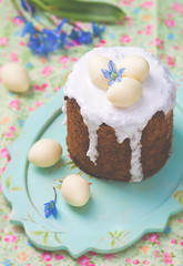 Easter cake kulich (Zoryanchik) Tags: food holiday yellow cake closeup festive easter season table dessert wooden spring colorful symbol sweet traditional egg decoration culture gourmet celebration delicious pastry eggs russian baked kulich