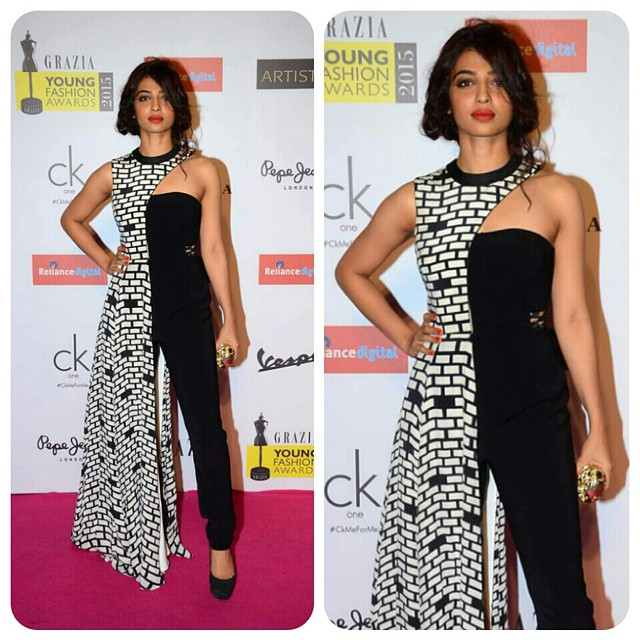 RADHIKA APTE looked gorgeous in an Urvashi Joneja designed jumpsuit at Grazia Young Fashion awards 2015. #RadhikaApte #UrvashiJoneja #GYFA2015 #GraziaIndia #instabollywood #bollywood