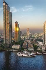 Shangri-la Sunrise. (jssutt) Tags: skyscraper sunrise thailand bangkok tripod shangrila hdr hdri thonburi chaophrya thailandphoto horizonclub jssutt jeffsuttlemyre