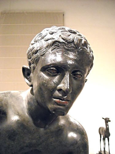 Hermes at rest - Eyes and lips: copper - from Pisoni's villa at Herculaneum (79 AD) - Naples, Archaeological Museum