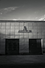 (Alexander Oleynik) Tags: light shadow sky blackandwhite bw clouds facade evening garage maz