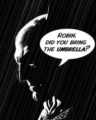 Shame Batman didn't check the weather forecast...... (Jackie XLY) Tags: batman batmanandrobin sincity art bw blackandwhite cartoon comic comicbook sincitystyle miller frankmiller frankmillerart frankmillerstyle dark rain frankmillerartist frankmillercomicbookart