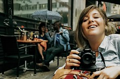Rainy day, at the pub we go, with cameras and a little parasol dosen't make any jealous of those lovely two people behind. London. (SUNA_PHOTOGRAPHY) Tags: people london friend rainyday best romentic