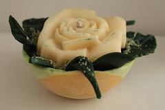 CENTRO DE MESA  HECHO DE CERA (ilmiomondoincera) Tags: verde casa centro artesanal rosa arena vela valentin regalo mesa bodas cera limon jarron decoracion marfil purpurina amrilla