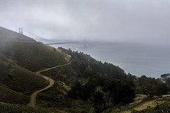 The Golden Gate (luqmac) Tags: californiacoast hawkhillcalifornia marinheadlands goldengatenationalrecreationarea goldengatebridgeconzelmanroad pacificcoasthighway coasthighway clouds nikond7100 pacificcoast fog