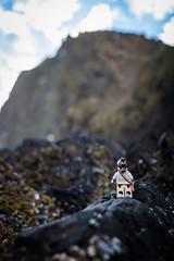 Rey climbing to meet Luke (David Lim) Tags: lego batman rey star wars r2d2 bb8 c3po beach wonder woman jawa