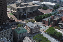 Boston City Hall and Faneuil Hall viewed from the Custom House Tower observation deck (David Coviello) Tags: boston architecture buildings massachusetts customhouse