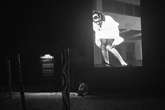 Cover up (Laser Kola) Tags: blackandwhite bw monochrome marilyn night suomi finland dark outside flow blackwhite helsinki alone sad marilynmonroe streetphotography skirt monroe fujifilm streetphoto blackandwhitephotography coverup 2014 flowfestival fujix100s fujifilmx100s lasseerkola laserkola
