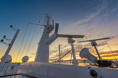 Fire on the Top Deck (duncan_mclean) Tags: qm2 cruise ship queenmary2 sunset cunard liner sky beautiful cruiseship evening deck dusk