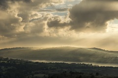 Sunbeams over Werneth Low (Keartona) Tags: werneth low charlesworth hills sunlight sunset beautiful landscape scenery sky soft clouds breathtaking summer derbyshire highpeak mist misty sunbeams golden england english glossop
