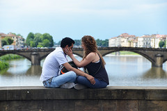 Love Firenze - 1 (Smith-Bob) Tags: italy italia firenze florence europe street candid people woman women man men dude dudes couple together love inlove married happy joy close intimate touch hold holdme bridge pont pontevecchio arnoriver river medieval
