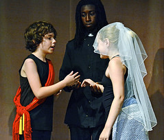 Claudio and Hero's first wedding (rachel.roze) Tags: youthshakespeareproject muchadoaboutnothing play hanover august2016 costumes hero claudio elijah locky vivian
