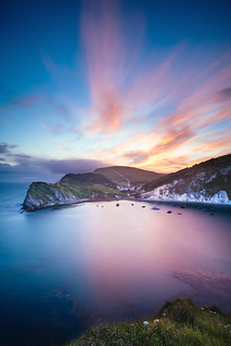 Colourful Sunset looking over Lulworth Cove