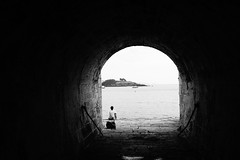 Light at the End of the Tunnel (JamieHaugh) Tags: blackwhite outdoor outdoors blackandwhite monochrome tunnel plymouth devon england sony a6000