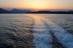 Sunset over the Peloponnese on arrival to Poros / Greece (anji) Tags: greece greekislands ellada saronic saronicgulf poros      aegean