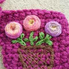 Detail of a basket of flowers crochet crazy quilt piece (crochetbug13) Tags: crochet crocheted crocheting flower flowers embroidery 2016 northcarolina statefair afghan blanket yarn embroider embroidered