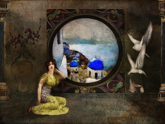 Room With A View (jimlaskowicz) Tags: deco dome blue greek island sea water itkupilli window pose maiden woman epic scene shadows light birds flowers vase mural greece antiquity classical romantic memorable view photoshop textures layers watercolor art painterly artistic aegean santorini vintage