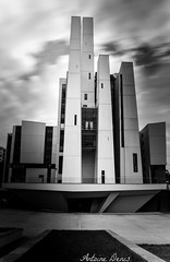 Modern building - B&W (tione76) Tags: building immeuble tione76 nikon d5300 black white blanc noir bw nb city architecture monochrome normandie normandy sky filtre filter ciel nuages clouds nd400 modern moderne futirist futuriste futuristic france exposition exposure longue long