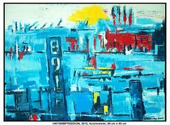 HAFENIMPRESSION (CHRISTIAN DAMERIUS - KUNSTGALERIE HAMBURG) Tags: moderne norddeutsche malerei landschaftsmalerei werke bilderwerk hamburg wer malt bilder acryl kunstgalerie auftragsmalerei auftragskunst acrylmalerei hafencity bildergalerie galerie container schiffe elbe hafen rapsfelder schleswigholstein zeichnung hell abstrakt