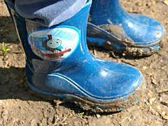Muddy Thomas the Tank Engine Wellington Boots (ChezMummy) Tags: mud wellingtonboots wellies thomasthetankengine muddyboots