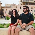 Students studying abroad in Spain pose together.