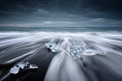 Cold Rush (CResende) Tags: trip sunset seascape motion black cold ice lines iceland sand rush jokulsarlon d800 1424 cresende lucroit