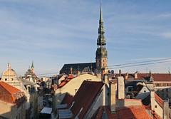 (Dudina18) Tags: street old sun church town shadows view latvia spire roofs riga