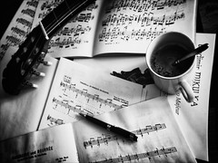"""""""Too many notes...!"""" (helmet13) Tags: bw music pen studies classicalguitar scores aoi cupofcoffee jsbach 100faves peaceaward heartaward world100f leicaxvario fsdusek mllobet afternoonambiance ncoste"""