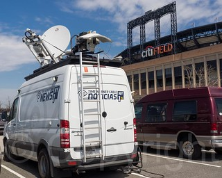 Time Warner Cable NY1 News Satellite Truck, 2015 New York Mets Opening Day, Citi Field Ballpark, Queens NY